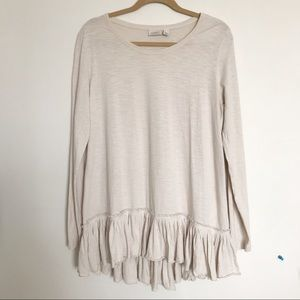 LOGO Lori Goldstein Cotton Slub Knit Pleated Hem M
